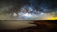 viewing stars down by the lake (Indigo Skies Photography) Tags: pink blue light red sky orange white lake colour green art nature water yellow night clouds rural river stars landscape nikon country tokina nighttime galaxy universe milkyway wideanglelens southernsky tokina1628mmf28 nikond750