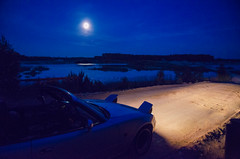 nightdrive (domantasm.) Tags: road blue moon night reflections drive headlights mazda miata cabrio mx5 roadster cabriolet