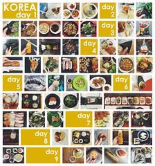 Korea Food Grid (gail m tang) Tags: food sushi grid japanese rice sashimi bbq meat korean ramen onigiri noodles tempura pickled dumplings radish bibimbap bulgogi gimbab