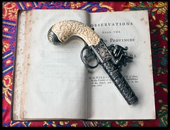Pistol and Book 3 (zweiblumen) Tags: scarf book antique pistol polariser 1754 canoneos50d lumiquestpocketbouncer zweiblumen photoshopcs4 canonspeedlite430exii theworksofsirwilliamtemplevol1