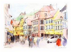 Ribeauvill et le St Ulrich- Alsace - France (guymoll) Tags: france watercolor sketch aquarelle ruine alsace watercolour chteau ville ribeauvill croquis colombages timberdedhouses