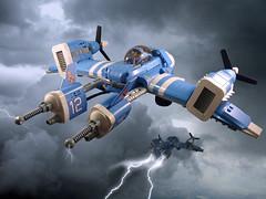 T-160 Thunderbird (JonHall18) Tags: plane fighter lego aircraft scifi lightning tesla moc skyfi dieselpunk