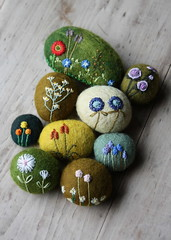 spring in the stones (lilfishstudios) Tags: flowers wool embroidery fiberart embroideredstones