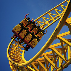 UK - Southend - Rollercoaster 02 sq (Darrell Godliman) Tags: uk greatbritain travel england copyright tourism yellow fun seaside nikon europe britishisles unitedkingdom britain squares tracks eu rage squareformat rails gb amusementpark rollercoaster gforce coaster sq essex corkscrew southend themepark europeanunion allrightsreserved southendonsea adventureisland travelphotography bsquare looptheloop instantfave omot travelphotographer flickrelite dgphotos darrellgodliman wwwdgphotoscouk d300s dgodliman gerstlauereurofighter nikond300s uksouthendrollercoaster02sqdsc0781