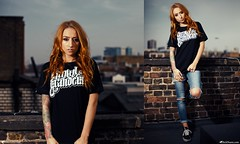 Charlotte Lou (Rick Nunn) Tags: roof red brick london tattoo ginger charlotte rick tshirt jeans lane flare vans moran growl nunn grandeur canonef50mmf14usm riped strobist
