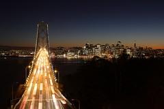 Bay Bridge (CJ Lucero) Tags: sanfrancisco longexposure bridge sunset water night baybridge nightphotograpghy