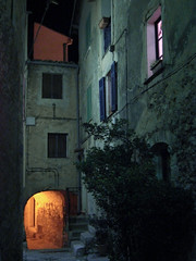 village at night (notarim) Tags: street france window vertical night riviera village outdoor nopeople creativecommons shutter 43 stonehouse frenchriviera colorimage byncnd villageatnight 120624 notarim