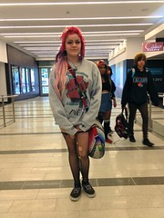 SF PRIDE: Metreon Fashion (Lynn Friedman) Tags: sanfrancisco ca pink gay usa fashion hair bag punk ripped pride tights sneakers lobby fabric lgbt fishnets soma sweatshirt metreon noma 94103 sfist sfpride lynnfriedman