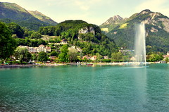 Stadt am See (TJRzurich) Tags: blue mountain lake schweiz switzerland walensee fontne weesen