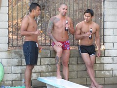 IMG_0168 (CAHairyBear) Tags: shirtless man men uomo mann hombre homme poolparty hom