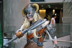 Dragonborn (GetChu) Tags: ax anime expo 2012 june july la los angeles convention center cosplay cosplayer costume outfit manga character video game elder scrolls skyrim dragonborn dovahkiin horn helmet one handed axe leather armor