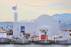 PAROS Naoussa 6 (Patricia Fenn) Tags: blue windows sunset sea vacation holiday church water lamp sunrise boats island greek dawn fishing europe mediterranean village dusk flag traditional aegean chapel greece destination quaint tow paros cyclades naoussa gettyimagesgreece1