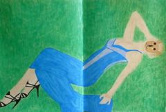 Berou the bear in the grass (catheadsix) Tags: blue green grass magazine photo model dress robe sandals lawn vert sharpie bazaar mysketchbook manoloblahnik colouredpencils berouthebear