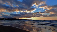 Portrush Sunset (Glenda Hall) Tags: ocean uk ireland sunset sea summer sky beach nature water clouds reflections skyscape evening town seaside sand waves fuji shadows tide finepix northernireland ulster portrush northcoast exr countryantrim f770 magicmomentsinyourlife sunrays5 magicmomentsinyourlifelevel2 magicmomentsinyourlifelevel3 magicmomentsinyourlifelevel4 glendahall