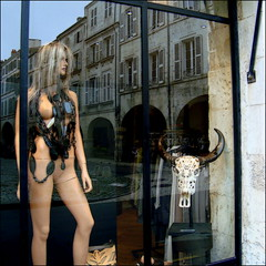 Tattooed Skull (Pifou 2010) Tags: street city light woman france reflection art colors skull town mannequins magasin crane couleurs femme lumiere boutique larochelle storewindow stores rues reflets ville ponts 2012 vitrines tattooed tatou gerardbeaulieu pifou2010 storesdisplays