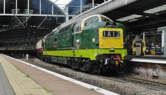Class 55 (Type 5) Deltic D9009 'Alycidon' at Newcastle Central. 'The Elizabethan' Railtour (1Z55) - 25th July 2012 (allan5819 (Allan McKever)) Tags: uk travel england heritage train newcastle diesel transport rail railway loco passengers locomotive railtour elizabethan northeast napier tyneside charter deltic enginge alycidon d9009 55009 1z55 exceursion
