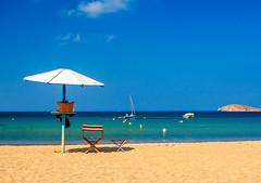 Shade for two ... (Nikos O'Nick) Tags: blue sea two sky island chair nikon nikos greece shade limnos lemnos plati d300s kotanidis