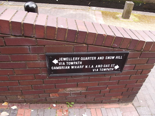 Birmingham & Fazeley Canal - sign - to the Jewellery Quarter