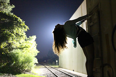 some people say there's a golden light (moonsukaru) Tags: light portrait silhouette train rail adventure astrid nighttime trainspotting contour
