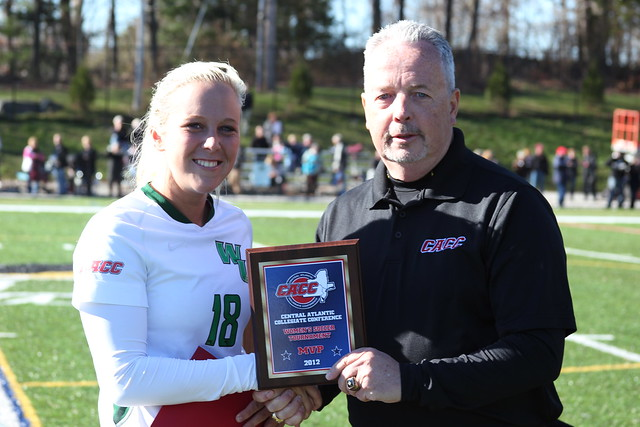 Sophomore Victoria Vasapolli earned the CACC Tournament MVP award for scoring two goals and adding two assists in the three matches