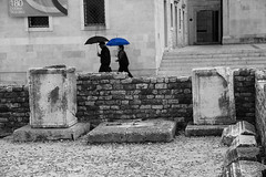 blue umbrella  (cyberjani) Tags: blackwhite zadar dalmatia blinkagain