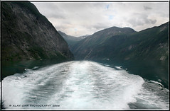 Boat Wake In Geiranger Fjord Norway (zenman3) Tags: mountains water norway canon landscapes scenery fjords geiranger canondigitalrebelxt scandinavianvacation