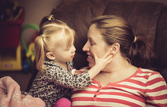 A Mom and Daughter Bond (BrettAnderson_) Tags: portrait baby love girl smile face minnesota smiling canon mouth hair mom nose 50mm eyes hands chair toddler sitting little mommy small daughter mother ears pigtails ef fifty nifty 60d