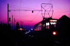 BROSSEL 8260: Tram Twilight (Peter ( phonepics only) Eijkman) Tags: belgie tram trams tec tramtracks hainaut henegouwen hainault vicinal smalspoor sncv nmvb buurtspoorwegen vicinaux teccharleroi boerentram