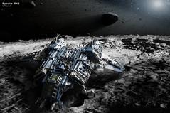 Landing on the astroid (migalart) Tags: classic stars book belt comic ship lego space landing shuttle neo kuipler