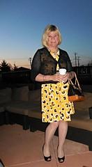 Sunrise (krislagreen) Tags: black yellow pumps dress cd femme hose tgirl transgender purse blond transvestite crossdress tg cardi patent feminization feminized purs