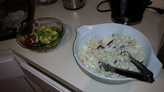 Avocado Salsa and Cole Slaw (cbb4104) Tags: avocadosalsa coleslaw cherries bourbon bbqsauce babybackribs rub grill