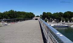 People vanishing on the Passerelle Simone de Beauvoir (eutouring) Tags: travel bridge people paris france architecture levels riverseine passerellesimonedebeauvoir