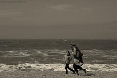 Belgian coast (Natali Antonovich) Tags: family sea portrait beach water monochrome seaside horizon lifestyle northsea relaxation oostende seashore motheranddaughter seasideresort belgiancoast seaboard