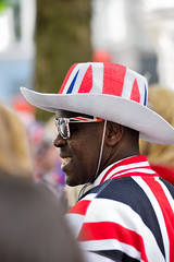 Flying the flag (jeremyhughes) Tags: london man qell unionjack unionflag flag britain british greatbritain hat stetson shades raybans bunting patriot patriotic nikon d750 nikkor 80200mmf28d individual unique person people candid stpauls queen queenelizabeth birthday celebration profile portrait