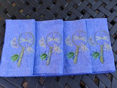 Nature's beauties (luvnlaff) Tags: machineembroidery handpaintedfabric metallicthread butterflies dragonflies beetle moth magnifyingglass urbanthreads miniaturemenagerie napkins embellishednapkins ladybug