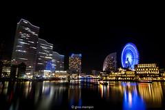 Japan.2016.057 (ginomempin) Tags: minatomirai yokohama japan city cityscape nightscape citylights reflection water building ferriswheel longexposure wide canon1022
