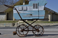 baby carriage made out of an old camper (lyndaspix2011) Tags: blue baby art unusual metalsculpture babycarriage unusualart