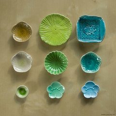My ceramic collection ({JooJoo}) Tags: china pink fish cute green sushi japanese miniature leaf ceramics lily teal small pad collection glaze pottery lilypad stoneware cracking joojoo afsanehtajvidi