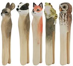 Wooden Owl Pegs (MyOwlBarn) Tags: rabbit bird animal wooden clips frog toad fox owl pegs clothespin