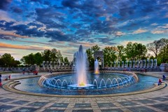 Evening at the World War II Memorial (Scottwdw) Tags: travel blue vacation sky water clouds mall evening dc washington spring districtofcolumbia nikon memorial unitedstates dusk tripod fountai