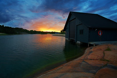 Sunset in Ecker (Timo Vehvilinen) Tags: sunset sea summer sky sun water finland midsummer boathouse land canonef1740mmf4l ecker
