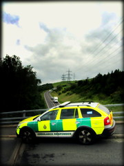 Keeping an eye... (Mike-Lee) Tags: bridge sheffield scout ambulance bypass orton skoda yas stocksbridge rrv july2012