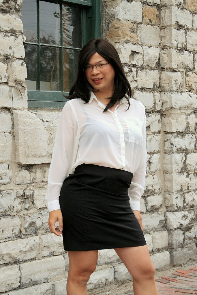 Buttoned Up Tgirl Katie Tags Summer Asian Tv Outdoor Cd Chinese Skirt