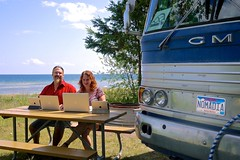 "Chris & Cherie at work - J W Wells State Park, Cedar Rivers, MI • <a style=""font-size:0.8em;"" href=""https://www.flickr.com/photos/36701684@N02/7705464370/"" target=""_blank"">View on Flickr</a>"