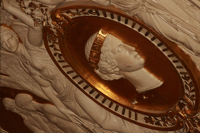"The damaged portrait of Queen Victoria that decorates a frieze above the stage in the Royal Opera House auditorium. <a href=""http://www.roh.org.uk"" rel=""nofollow"">www.roh.org.uk</a>"