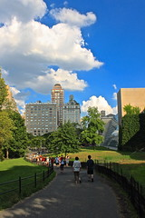 (amandabenizzi) Tags: park city nyc newyorkcity blue trees shadow red summer sky people white newyork green art nature beautiful museum clouds buildings walking outside grey diverse cloudy pavement centralpark crowd central august sidewalk pro metropolitan