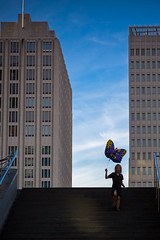 One of 99 (Pensiero) Tags: sky berlin scale girl buildings ballon steps cielo portfolio nena bambina berlino palloncino 99luftballons postdamerplatz