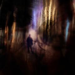 """Scandinavian Nights"" (helmet13) Tags: street light reflection colors silhouette night person aoi 100faves peaceaward heartaward world100f leicaxvario brushedmetalball"