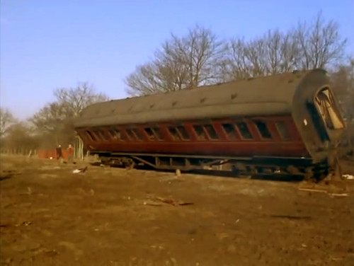 An early Stanier coach in the process of being scrapped