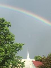 God's Promise (cliffordswoape) Tags: usa church beauty rain clouds rainbow tennessee steeple methodist doublerainbow woodbury cannoncounty